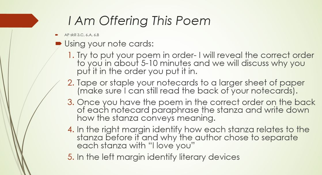 Annotate a poem foldable